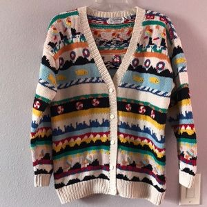 Vintage multicolored knitted cotton cardigan